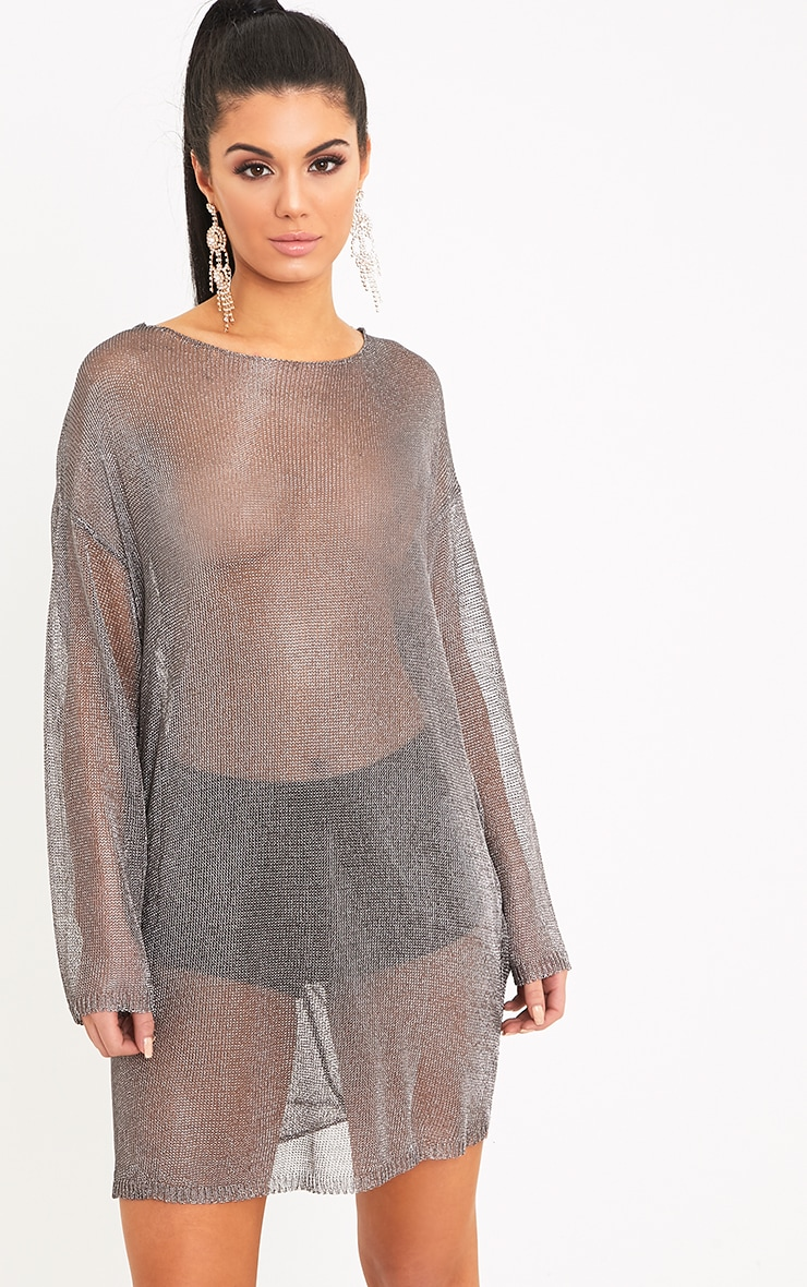 Judanna Pewter Scoop Back Sheer Knitted Mini Dress 2