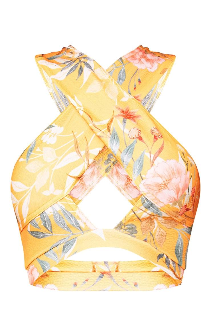 Orange Tropical Print Bardot Crop Top  4