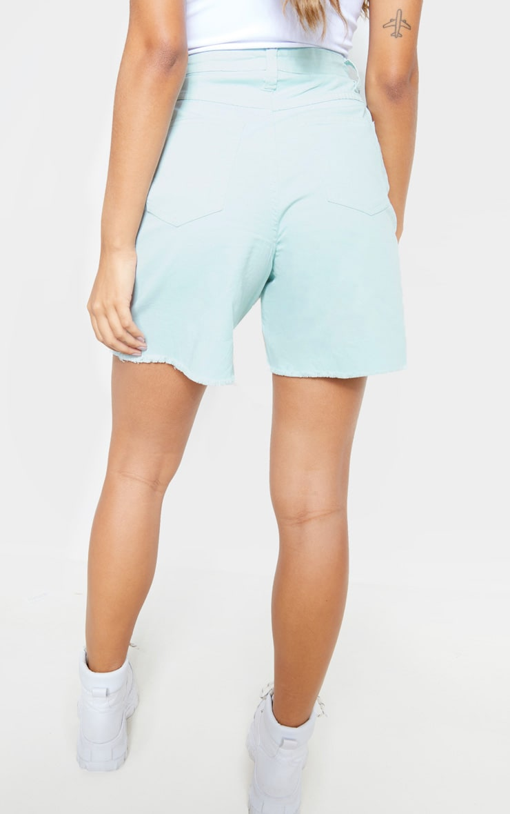 Mint Longline Denim Shorts 4