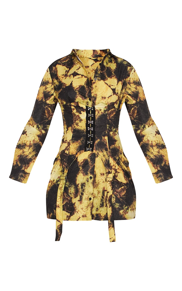 Yellow Tie Dye Hook & Eye Suspender Corset Detail Shirt Dress 5