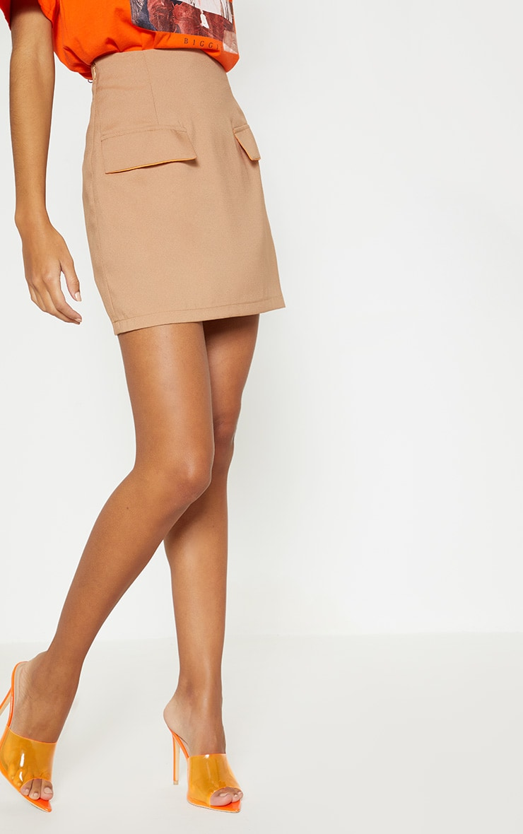 Camel Formal Pocket Flap Front Mini Skirt 2