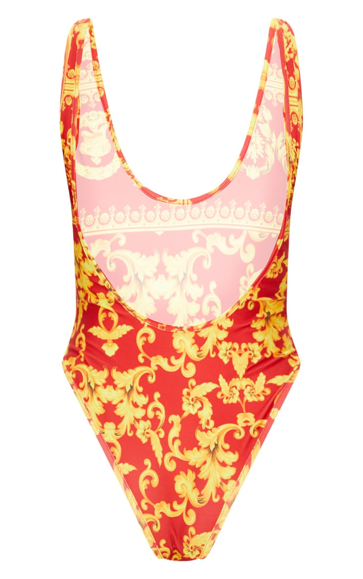 Red Chain Print Low Back Swimsuit 4