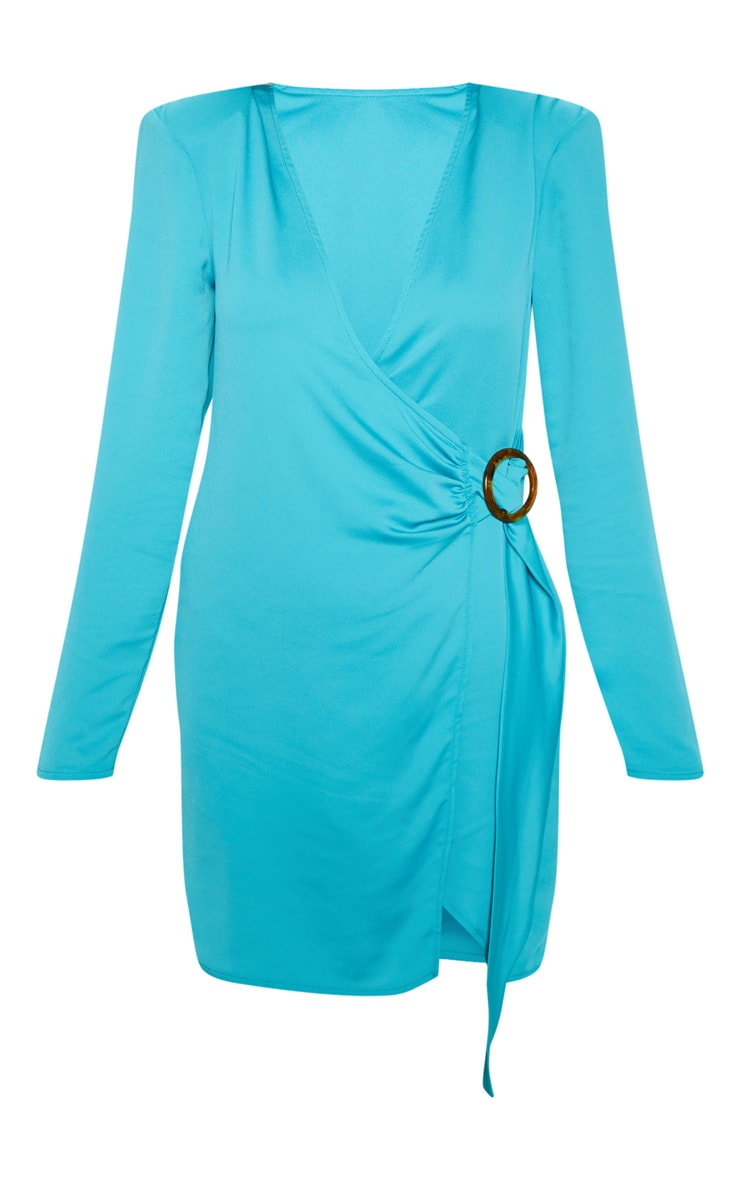 Bright Blue Shoulder Pad Buckle Detail Shift Dress 3