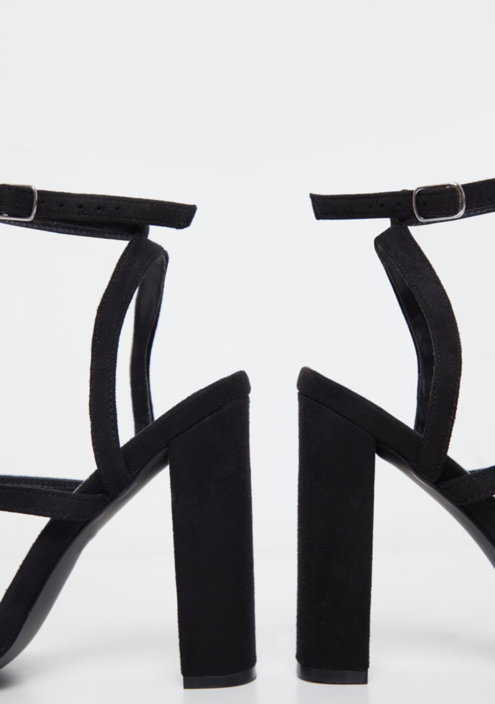 Black Asymmetric Diamante Block Heel Sandal 5