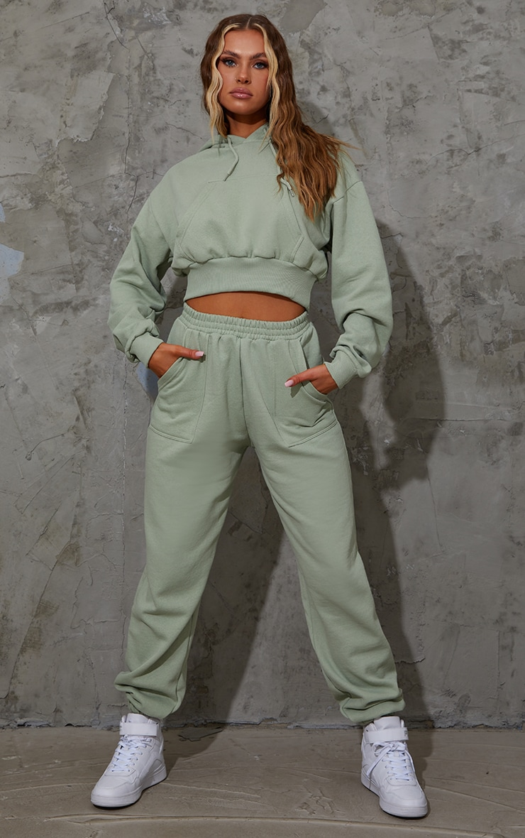Sage Green Pocket Front Cropped Hoodie 3