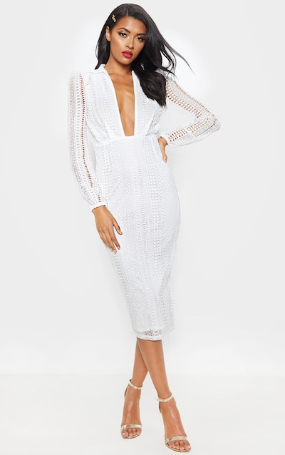 White Lace Plunge Neck Midi Dress