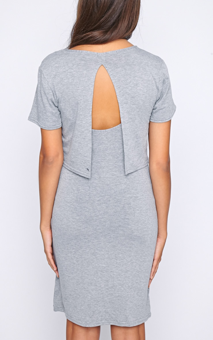 Fran Grey Layered Tshirt Dress with Open Back  2