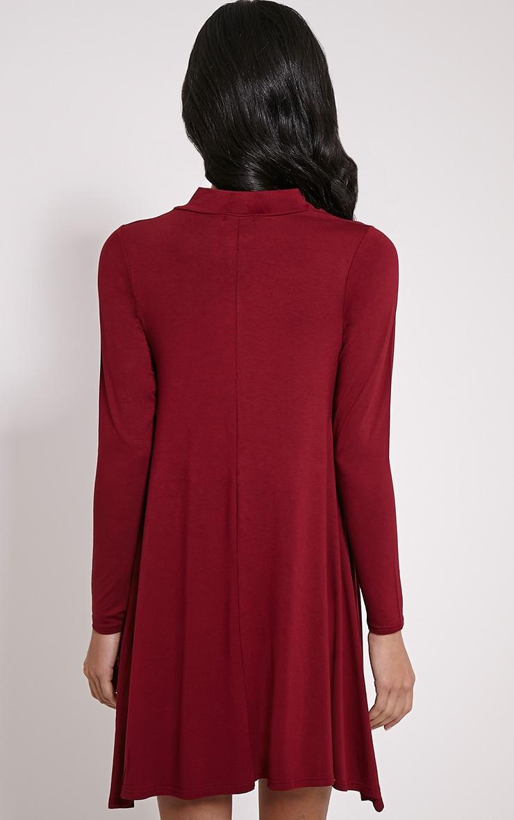 Basic Wine Long Sleeved Jersey Swing Dress 2