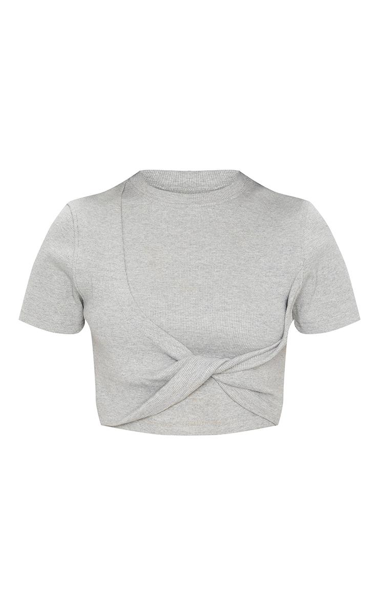 Grey Structured Rib Tie Detail Crop T Shirt 4