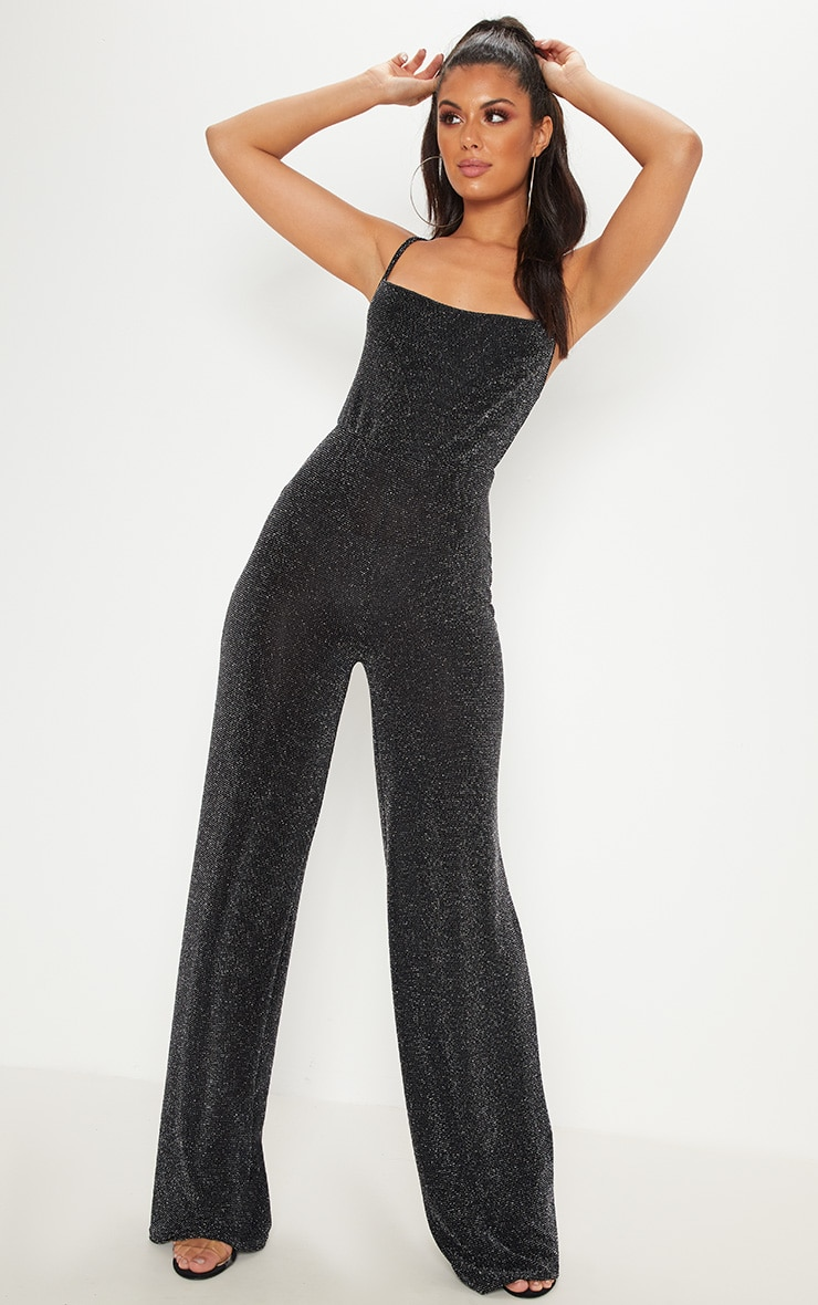 Black Glitter Cowl Neck Jumpsuit