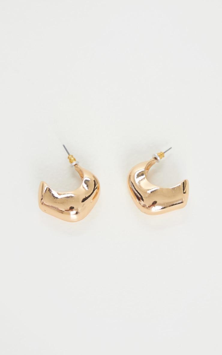 Gold Chunky Square Hoop Earrings 3