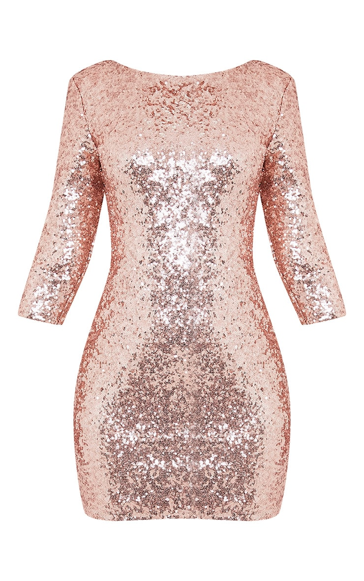 Eida Rose Gold Sequin Bodycon Dress 4