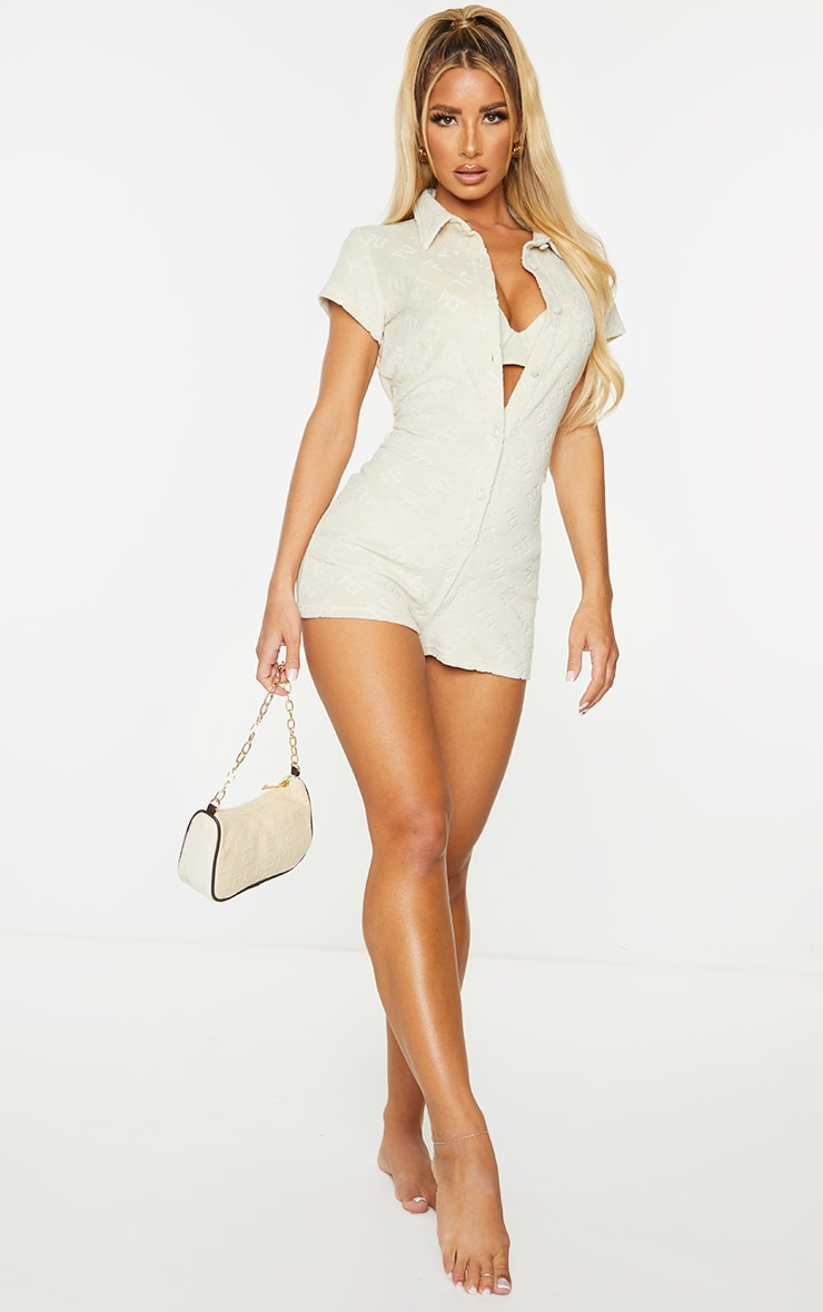 PRETTYLITTLETHING Stone Embossed Towel Beach Playsuit 3