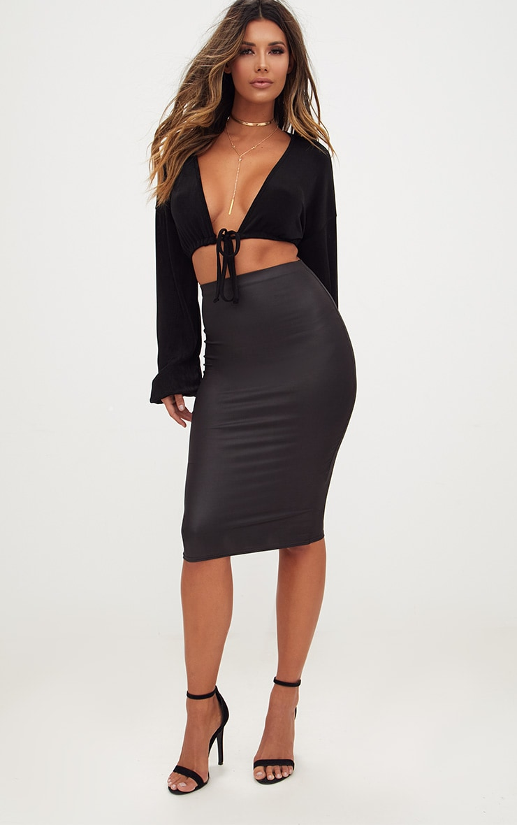 Black Leather Look Midi Skirt 1