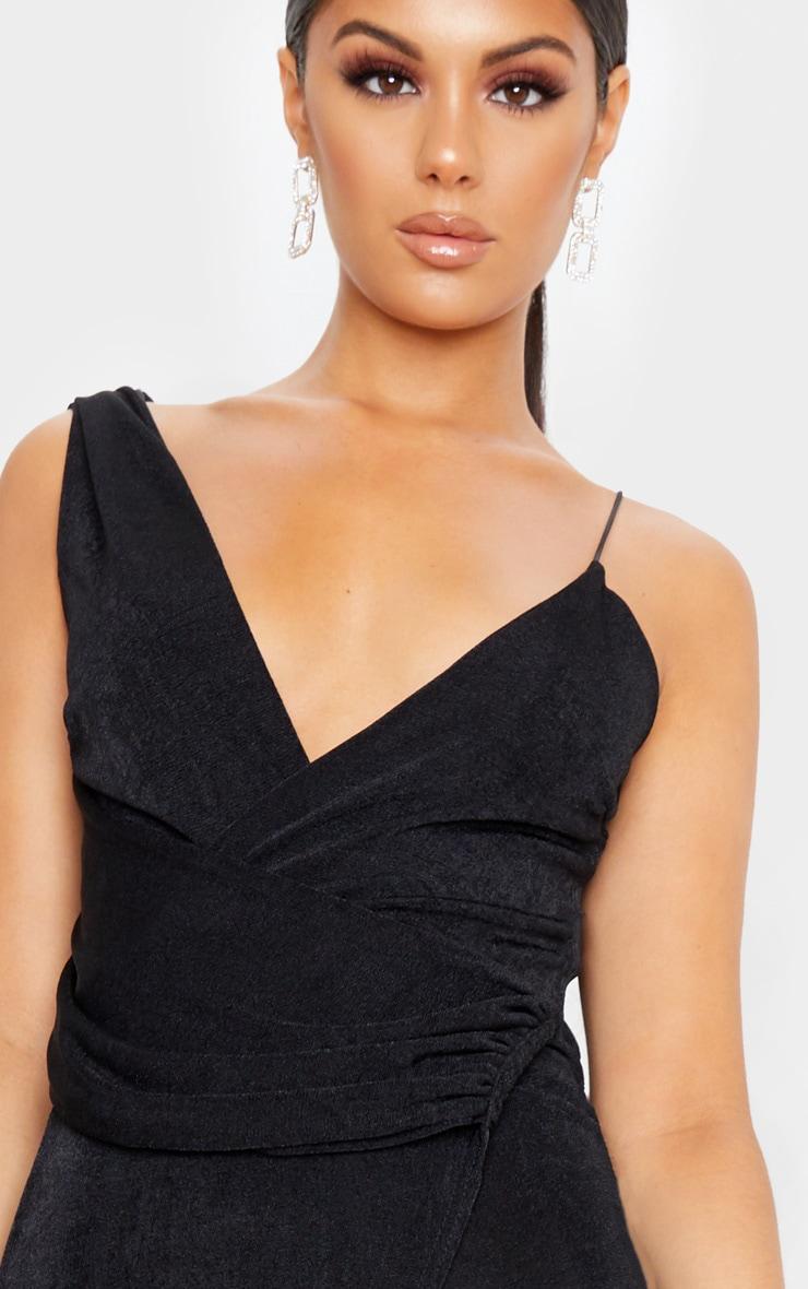 Black Textured Slinky Asymmetric Drape Maxi Dress 5