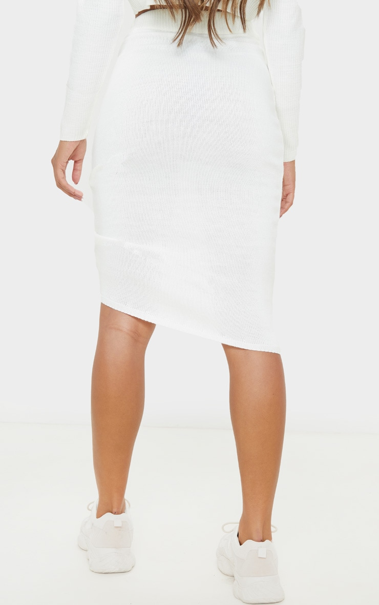 Ivory Ruched Front Knitted Midi Skirt 5