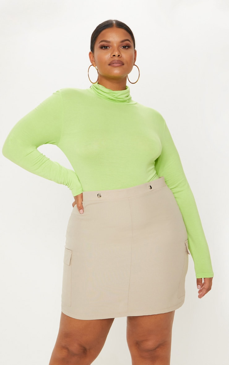 Plus Neon Lime Basic Roll Neck Long Sleeve Bodysuit 1