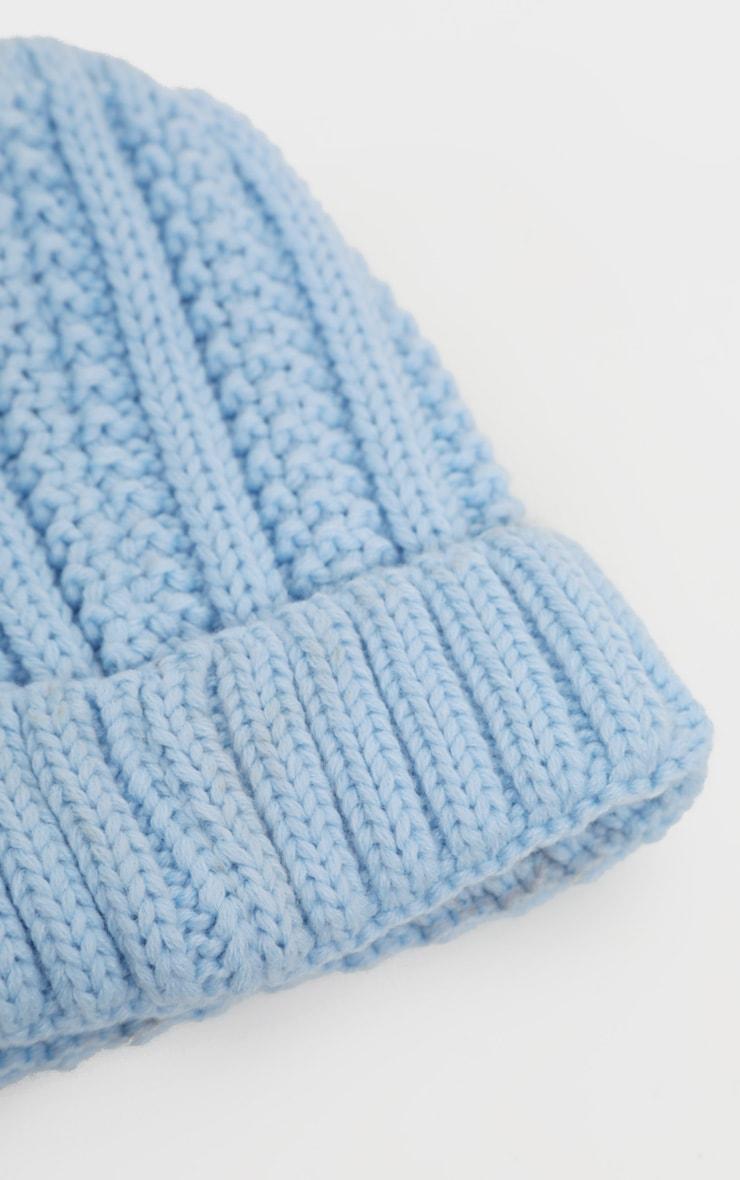 Baby Blue Chunky Knit Beanie 3