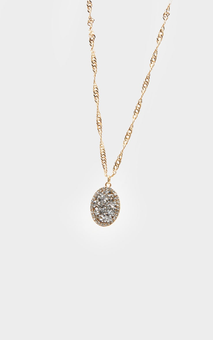 Gold Twist Chain Crystal Cluster Oval Charm Necklace 4