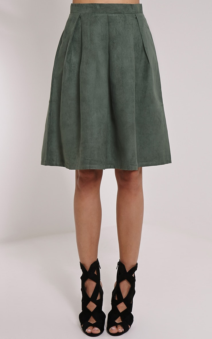 Teagon Khaki Pleated Faux Suede A-Line Midi Skirt 2
