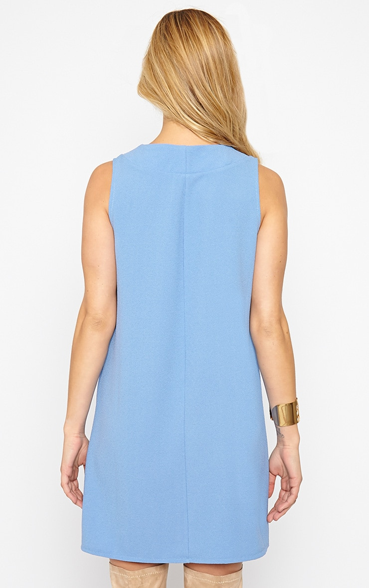 Haelyn Blue Plunge V Shape Loose Fit Binding Dress 2