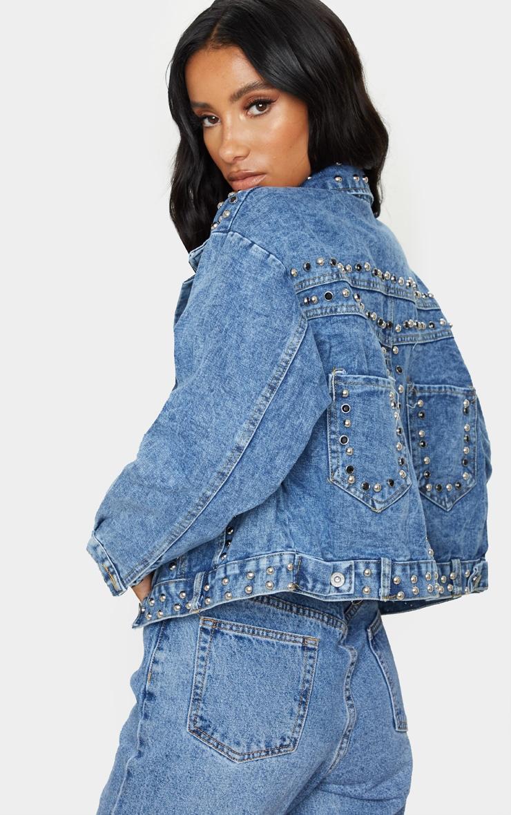 Mid Wash Studded Oversized Denim Jacket 2