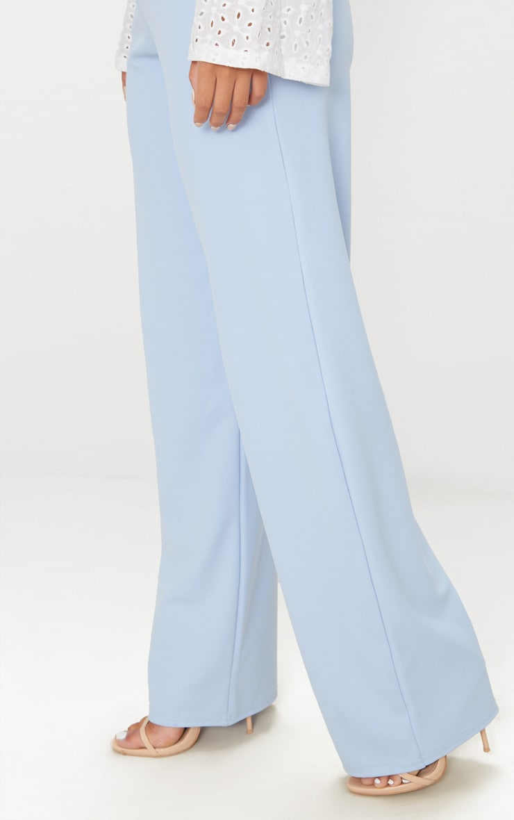 Pale Blue Wide Leg Scuba Trousers 5