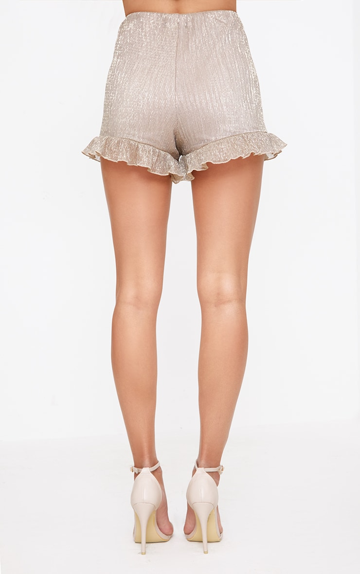 Gold Metallic Pleated Frill Hem Shorts 4