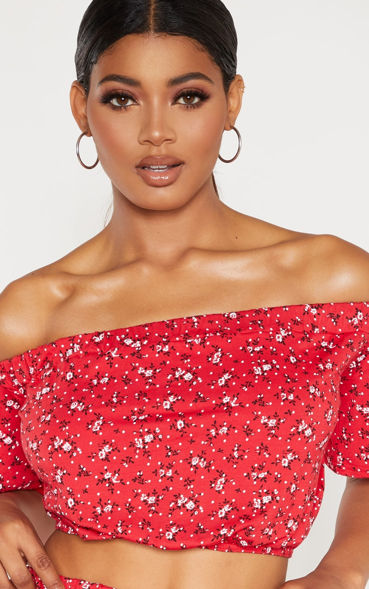 Tall Red Ditsy Floral Print Bardot Flare Sleeve Crop Top 5