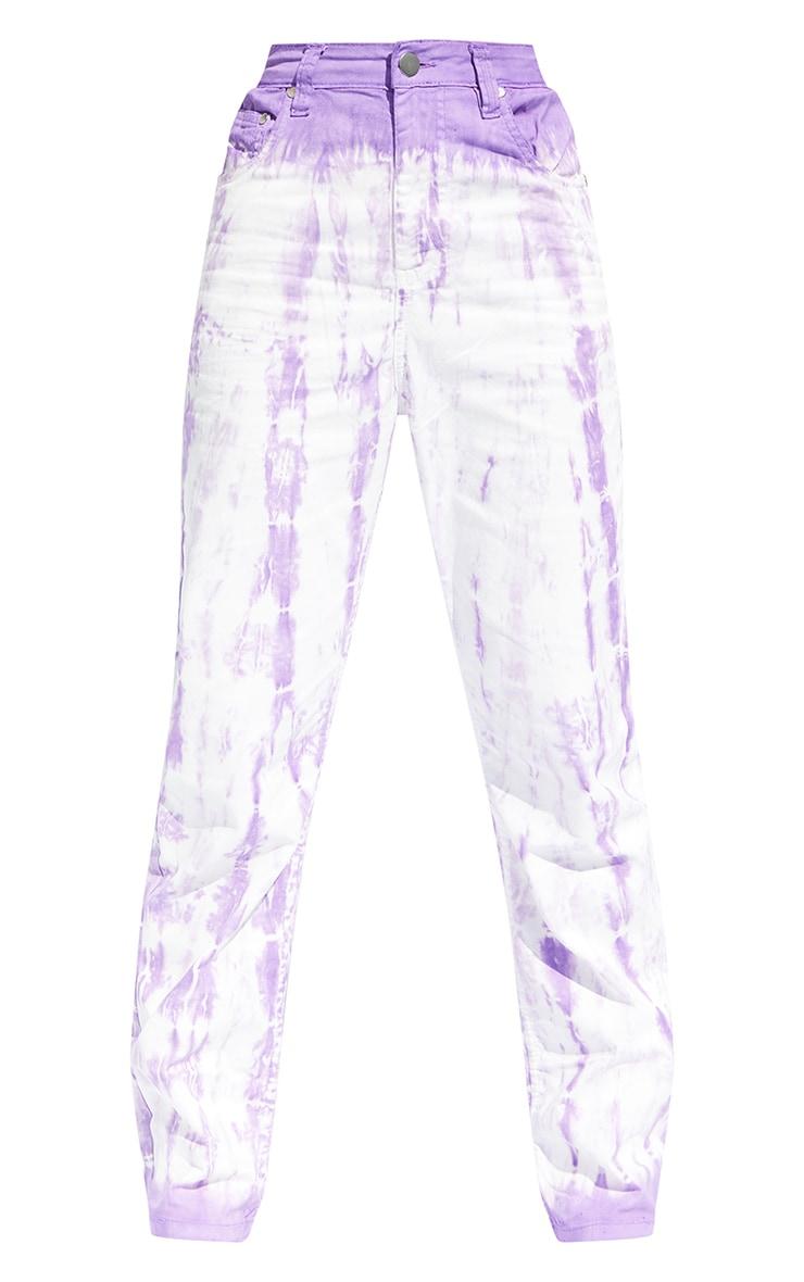 Purple Tie Dye Denim Straight Leg Jeans 5