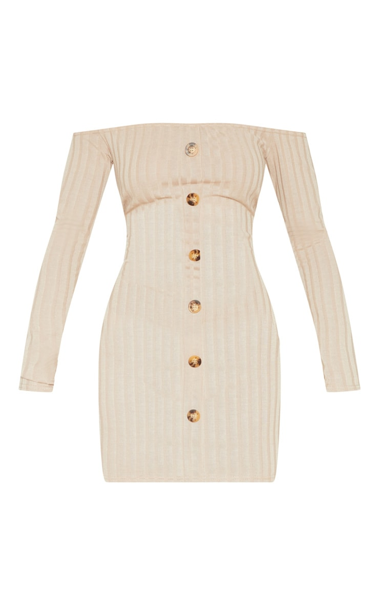 Stone Ribbed Button Detail Dress  3