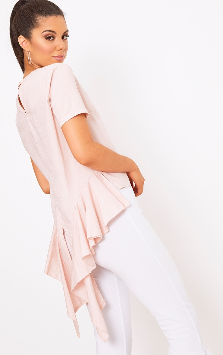 Blush Drop Back Crew Neck Shirt 1