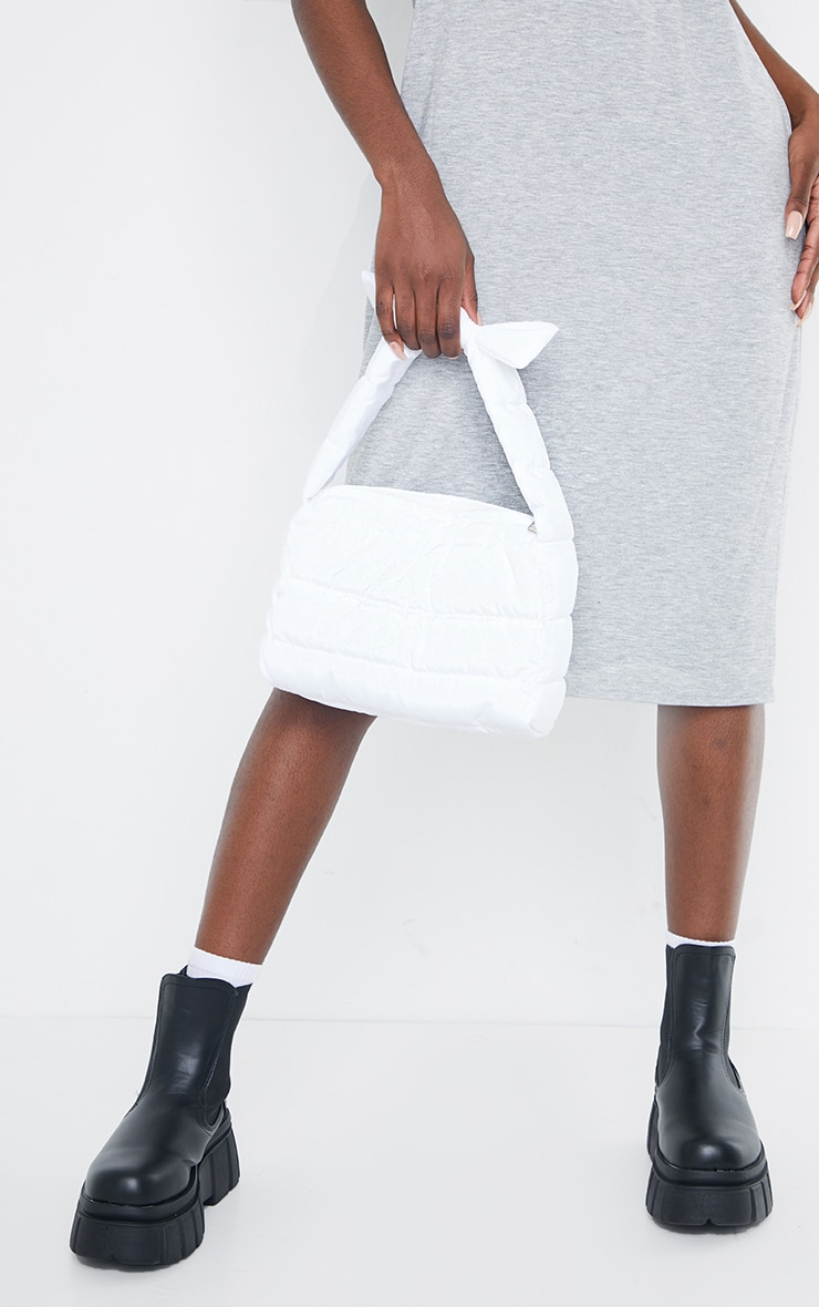 White Quilted Tie Strap Grab Bag 1