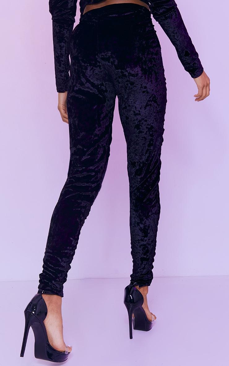 Black Velvet Ruched Seam Front Cropped Leggings 3