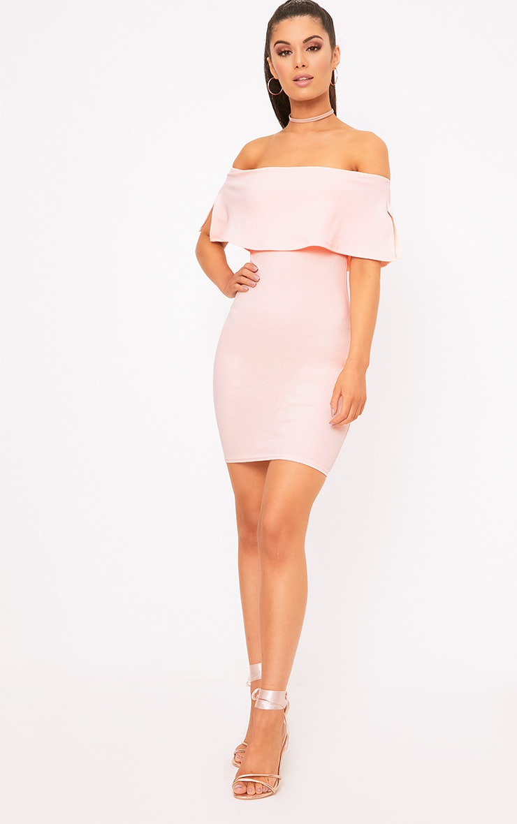 Nude Bardot Frill Bodycon Dress 4