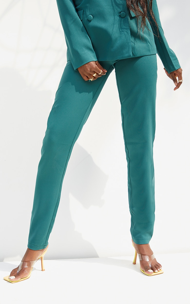 Tall  Green HighWaisted Suit Trousers 2