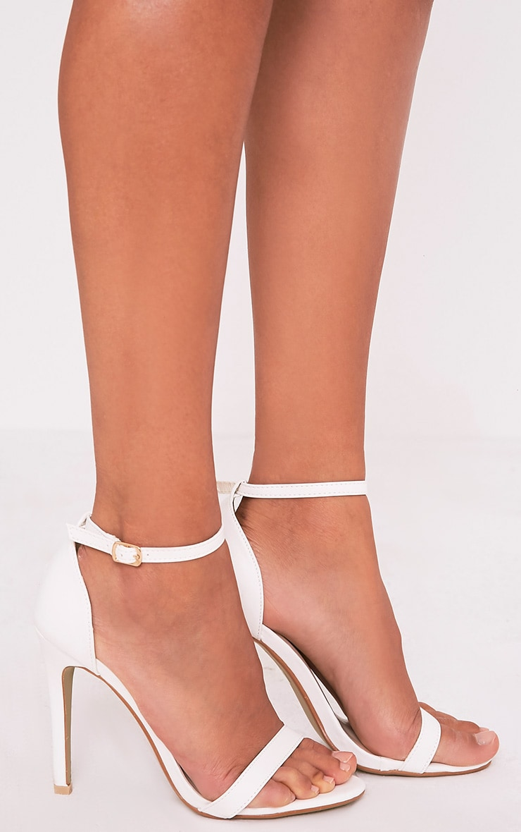 Clover White Strap Heeled Sandals
