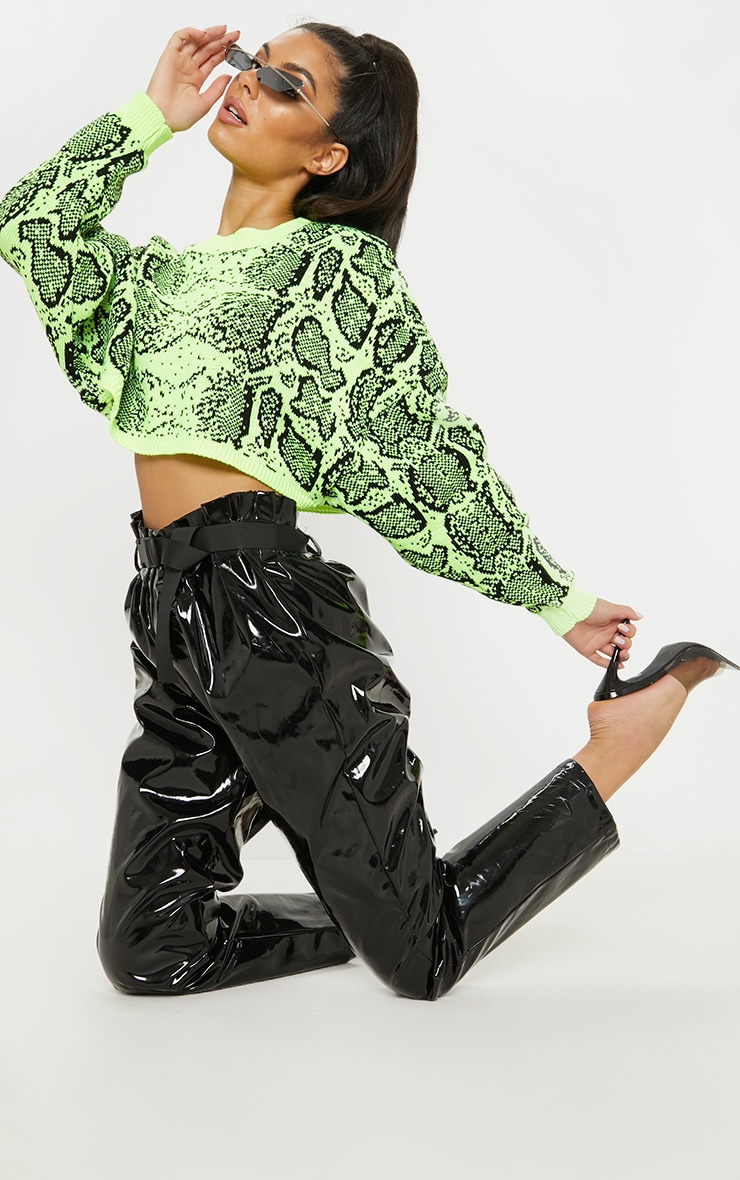 Lime Snake Print Knitted Cropped Jumper  4