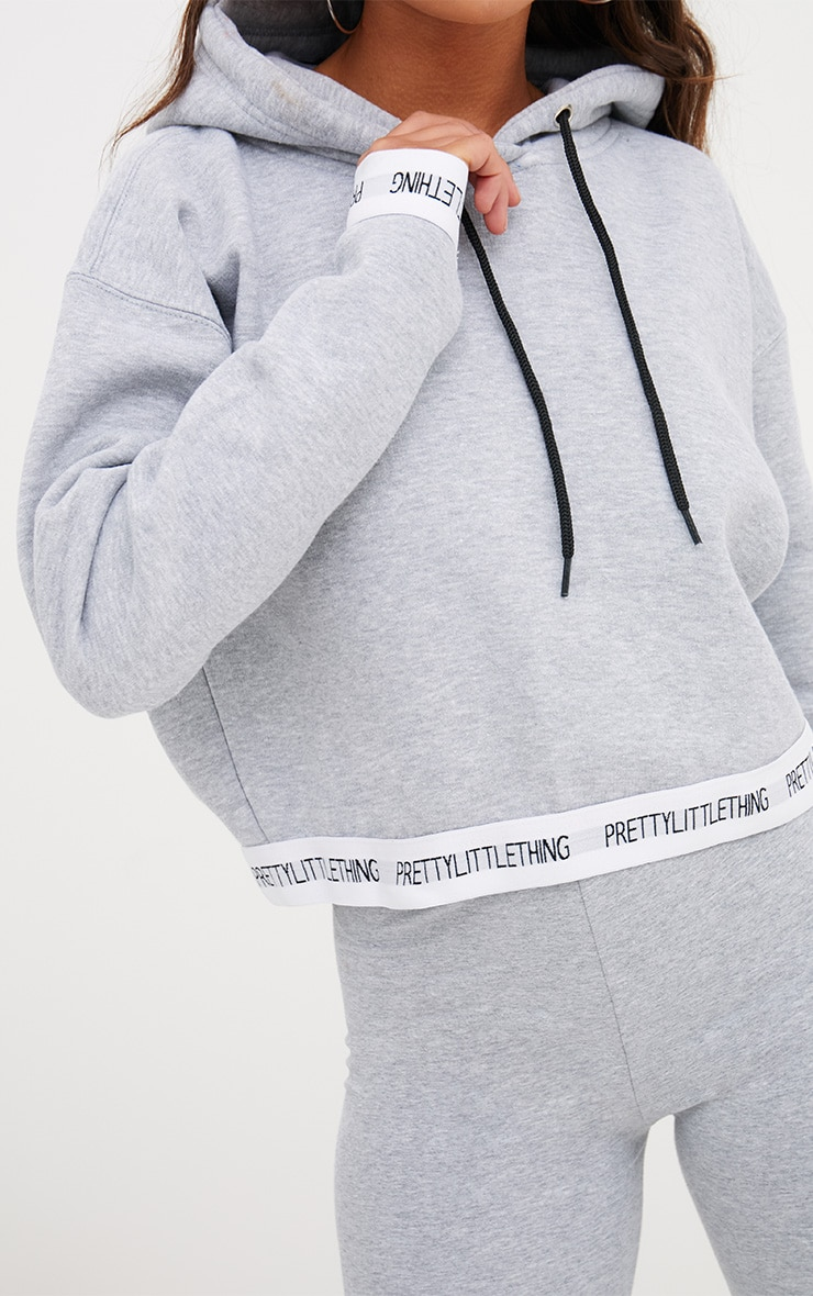 PRETTYLITTLETHING Grey Trim Cropped Hoodie 5