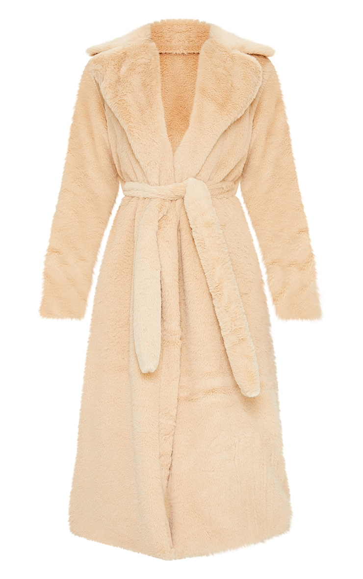 Tall Taupe Belted Faux Fur Coat 5
