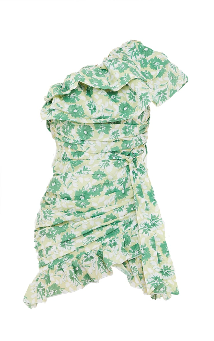 Green Floral Print One Shoulder Ruched Frill Bodycon Dress 5