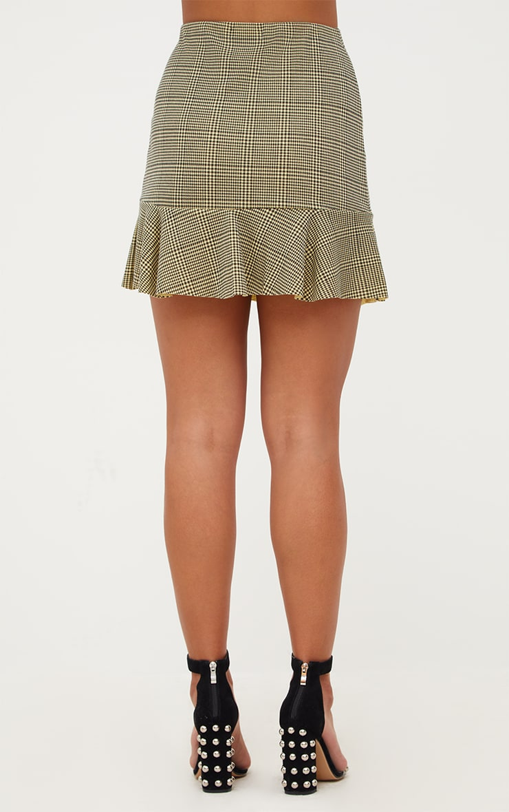 Yellow Dogtooth Flippy Hem Mini Skirt  4