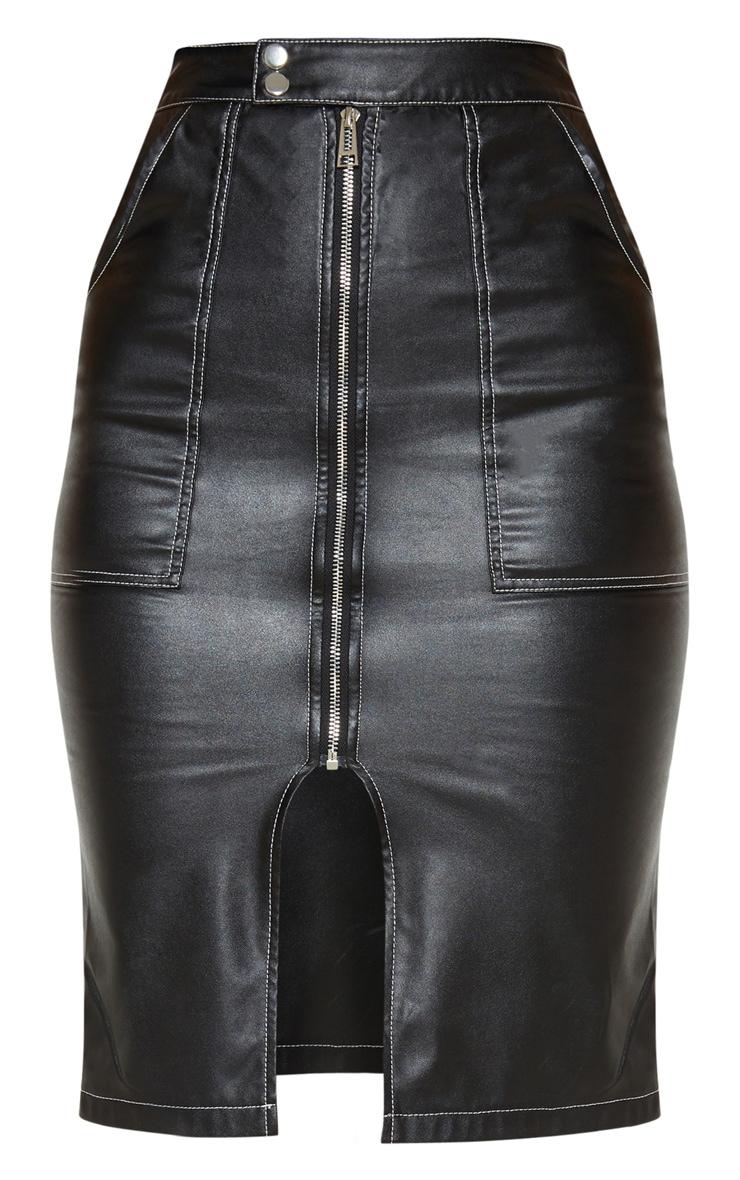 Black Faux Leather Contrast Stitch Midi Skirt 3