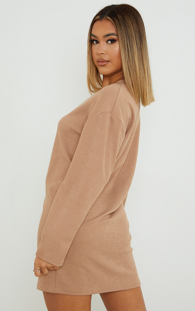 Stone Ribbed Oversized Boyfriend Jumper Dress 2