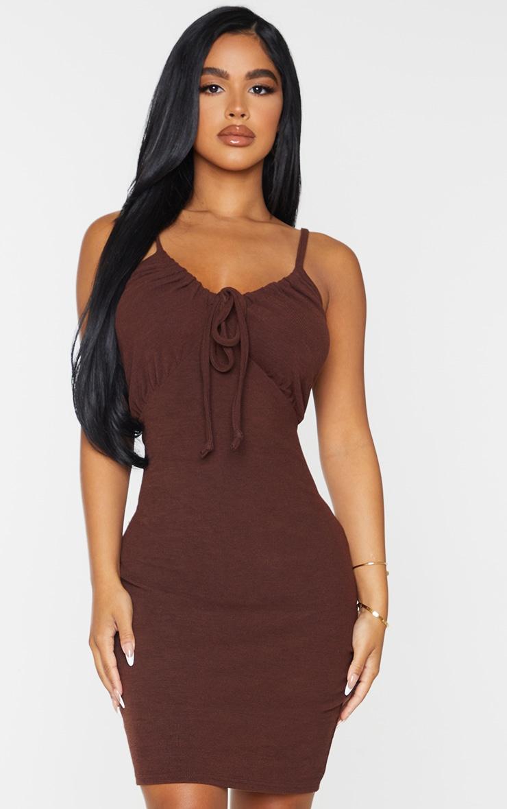 Petite Chocolate Strappy Ruched Rib Dress 1