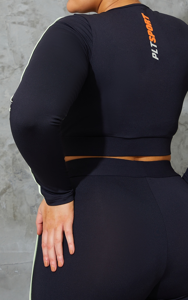 Plus Black With Lime Piping Detail Long Sleeve Cropped Sports Top 4