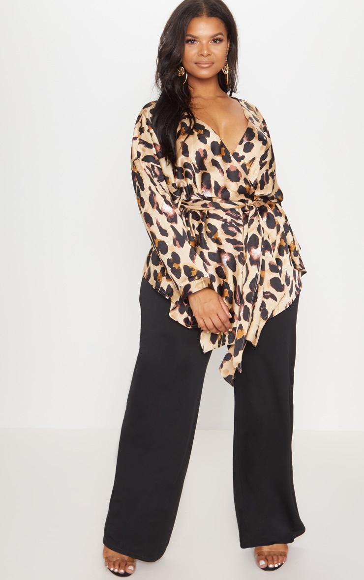Plus Tan Leopard Print Woven Tie Waist Blouse 4