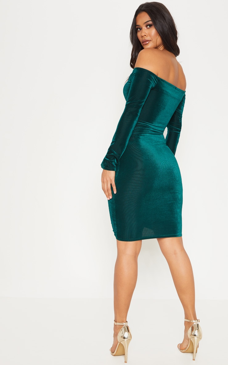 Emerald Green Ribbed Velvet Bardot Ruched Bodycon Dress 2