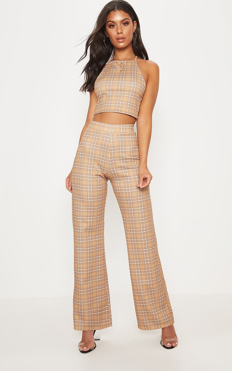 Camel Check High Waisted Wide Leg Trousers 2