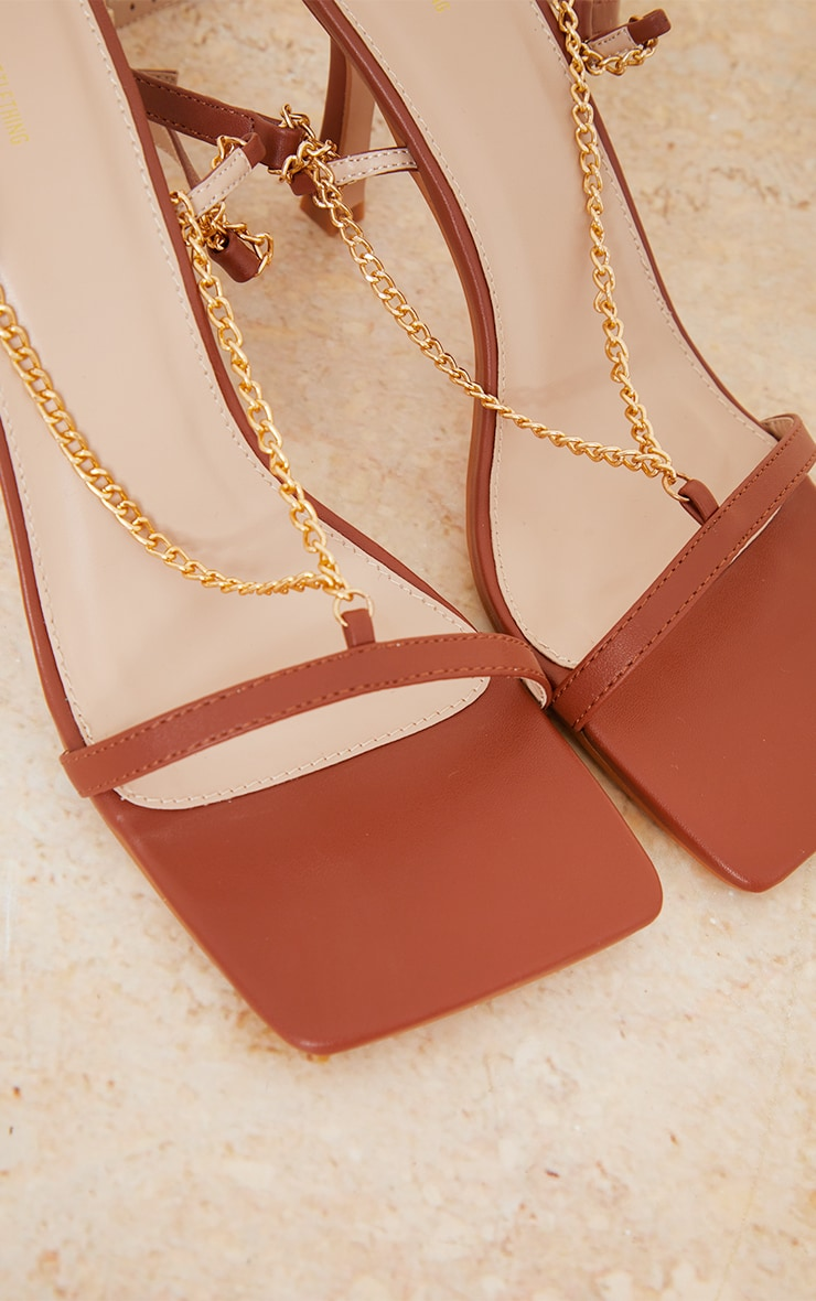 Chocolate PU Chain Detail Strappy Heeled Sandals 4